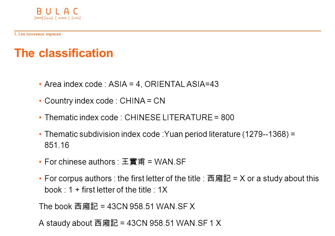 The classification Area index code : ASIA = 4, ORIENTAL ASIA=43 Country index code : CHINA = CN Thematic index code : CHINESE LITERATURE = 800 Themati