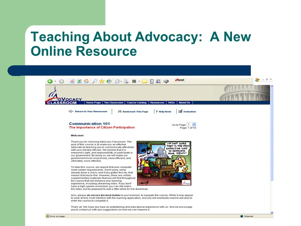 Teaching About Advocacy: A New Online Resource
