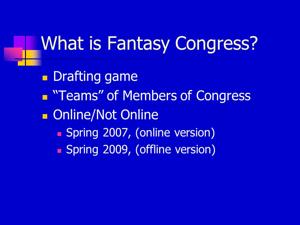 What is Fantasy Congress.