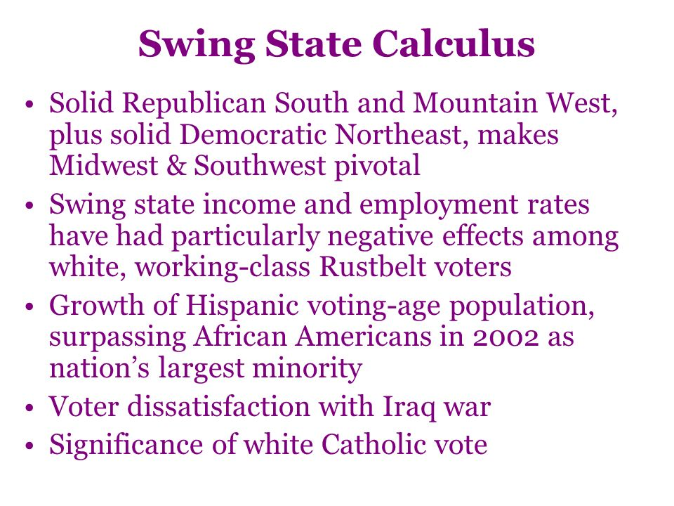 Swing State Calculus Solid Republican South and Mountain West, plus solid Democratic Northeast, makes Midwest & Southwest pivotal Swing state income and employment rates have had particularly negative effects among white, working-class Rustbelt voters Growth of Hispanic voting-age population, surpassing African Americans in 2002 as nations largest minority Voter dissatisfaction with Iraq war Significance of white Catholic vote