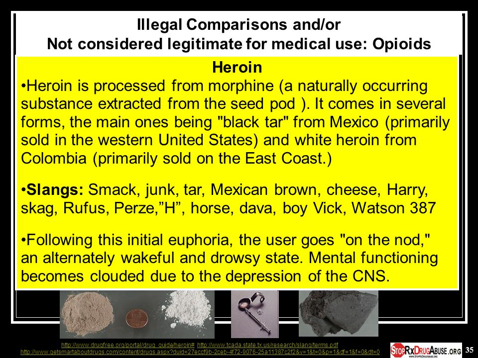 35 Heroin Heroin is processed from morphine (a naturally occurring substance extracted from the seed pod ). It comes in several forms, the main ones b