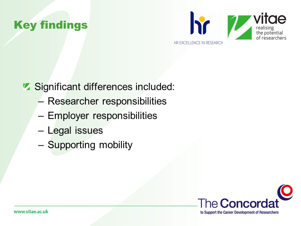 Key findings Only area where less than 50% of HR implementation plans said that action had been (or was planned to) take place was around Research Staff Associations (22%) There is sufficient similarity to identify a potential framework of areas which might inform the internal/external review process