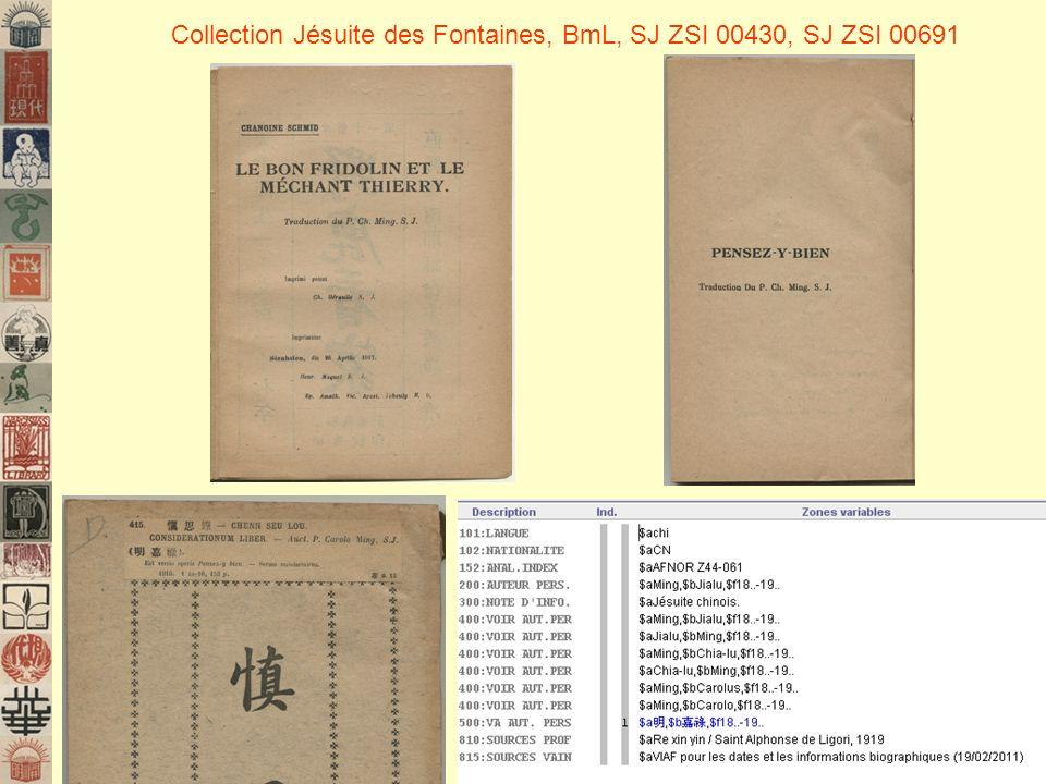 Collection Jésuite des Fontaines, BmL, SJ ZSI 00430, SJ ZSI 00691