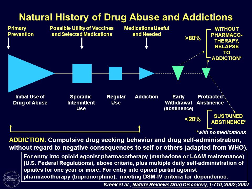 Natural History of Drug Abuse and Addictions Initial Use of Drug of Abuse Sporadic Intermittent Use Regular Use AddictionEarly Withdrawal (abstinence)