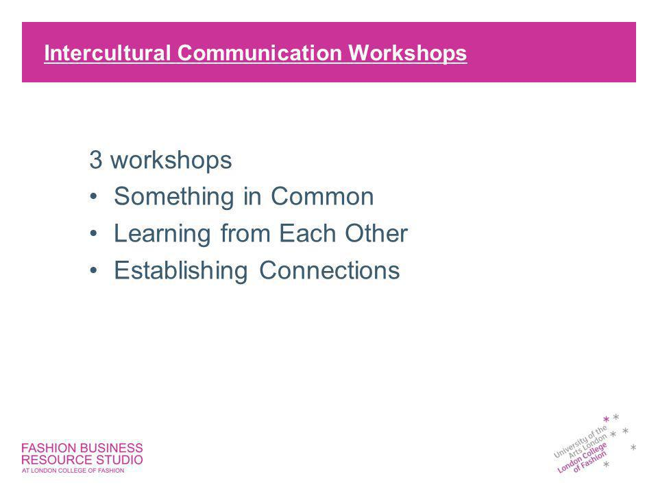 Intercultural Communication Workshops 3 workshops Something in Common Learning from Each Other Establishing Connections