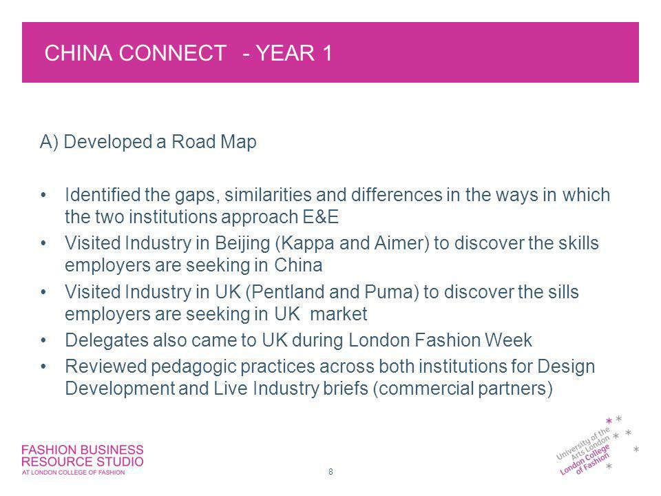 CHINA CONNECT - YEAR 1 A) Developed a Road Map Identified the gaps, similarities and differences in the ways in which the two institutions approach E&E Visited Industry in Beijing (Kappa and Aimer) to discover the skills employers are seeking in China Visited Industry in UK (Pentland and Puma) to discover the sills employers are seeking in UK market Delegates also came to UK during London Fashion Week Reviewed pedagogic practices across both institutions for Design Development and Live Industry briefs (commercial partners) 8