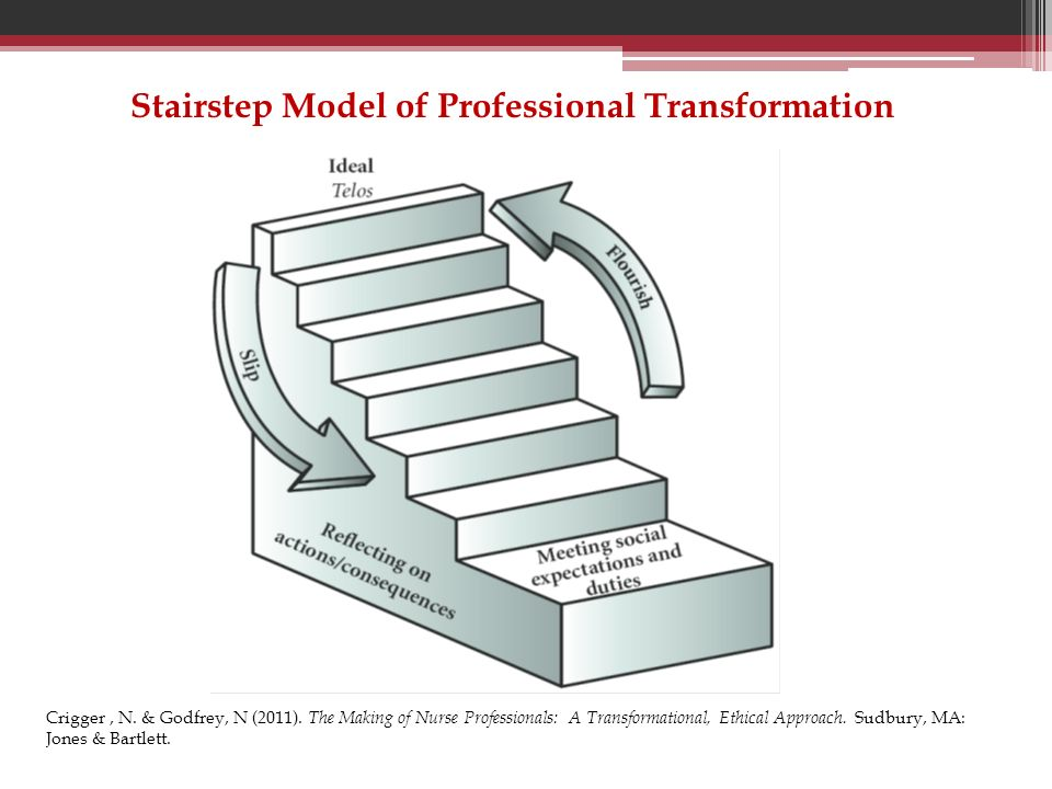 Stairstep Model of Professional Transformation Crigger, N. & Godfrey, N (2011). The Making of Nurse Professionals: A Transformational, Ethical Approac