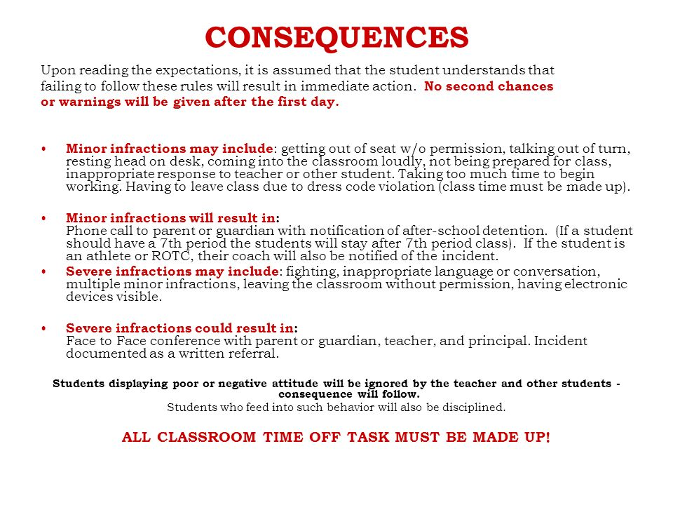CONSEQUENCES Upon reading the expectations, it is assumed that the student understands that failing to follow these rules will result in immediate action.