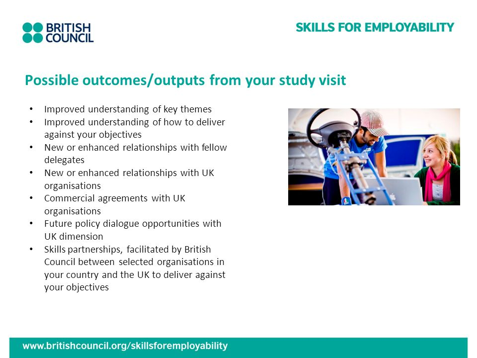 Possible outcomes/outputs from your study visit Improved understanding of key themes Improved understanding of how to deliver against your objectives