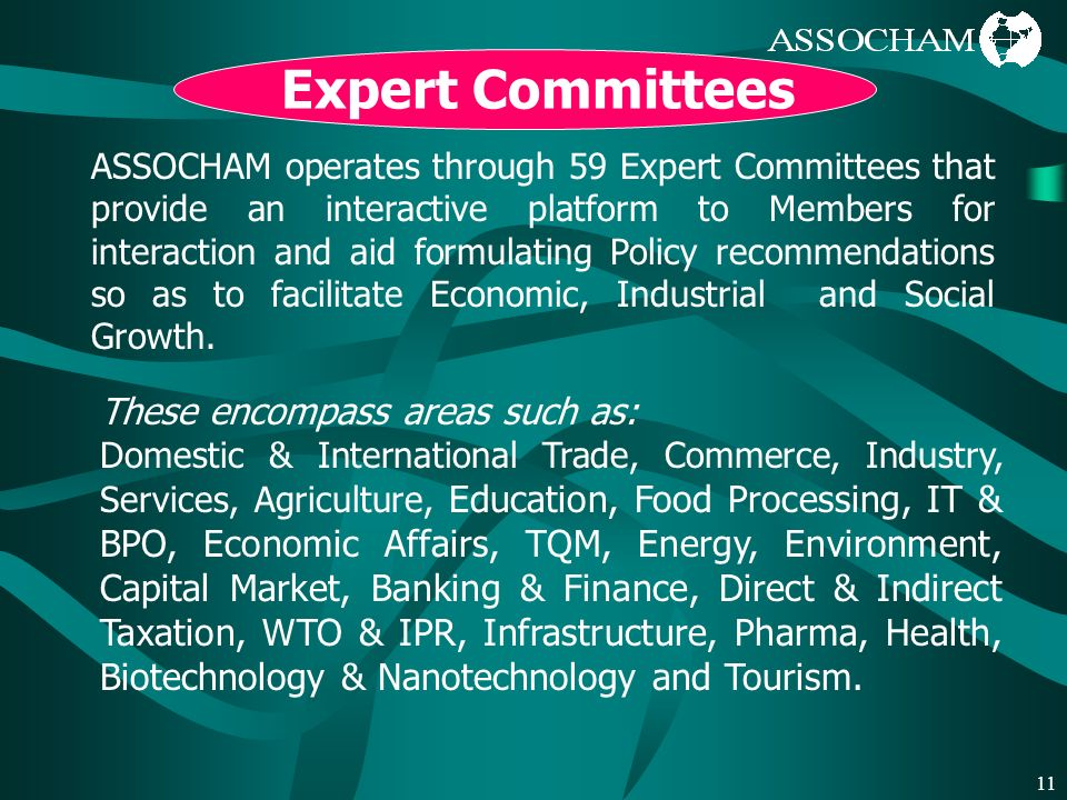 11 Expert Committees ASSOCHAM operates through 59 Expert Committees that provide an interactive platform to Members for interaction and aid formulating Policy recommendations so as to facilitate Economic, Industrial and Social Growth.