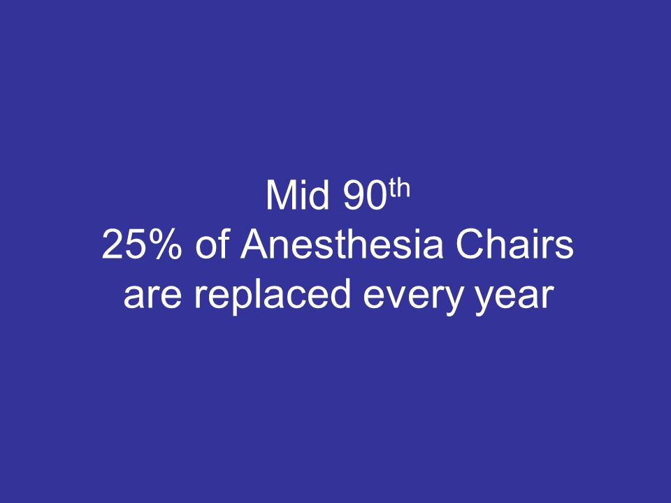 Mid 90 th 25% of Anesthesia Chairs are replaced every year