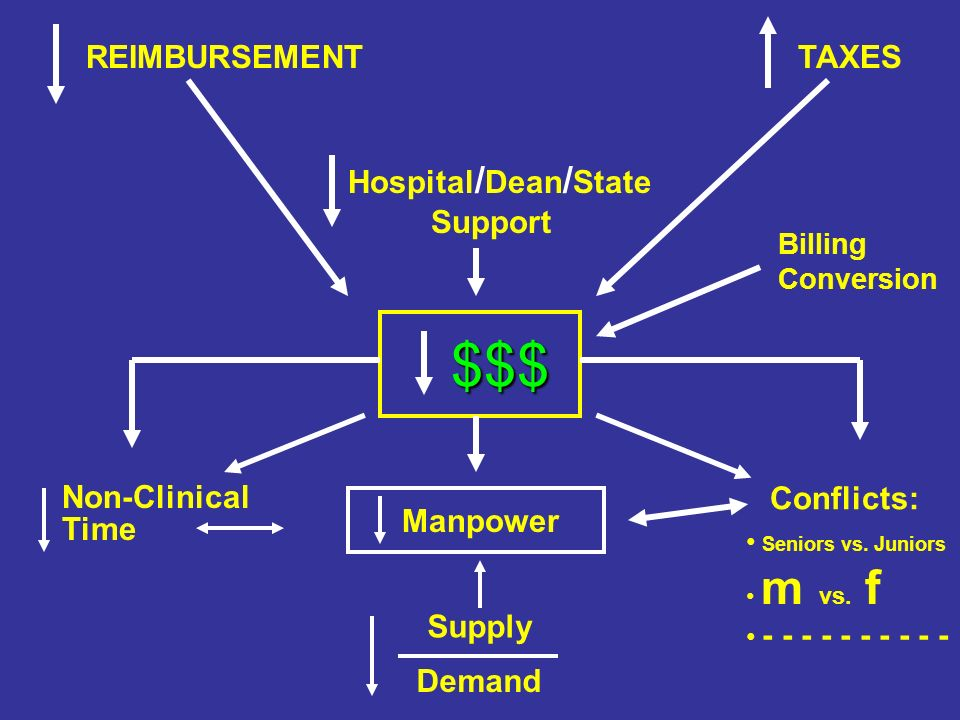 Hospital / Dean / State Support TAXES REIMBURSEMENT $$$ $$$ Manpower Seniors vs.