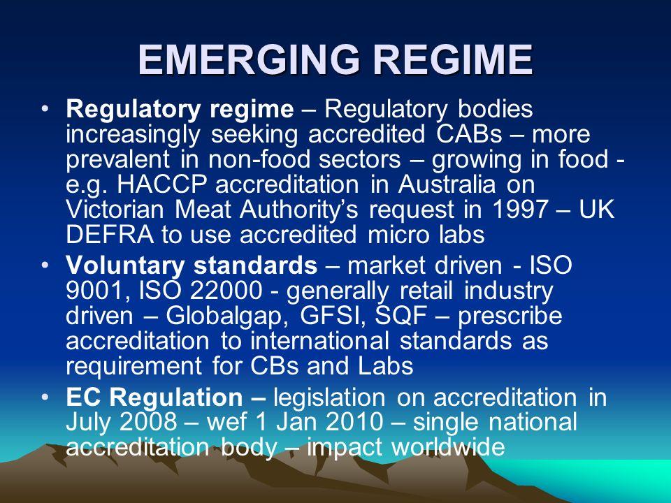EMERGING REGIME Regulatory regime – Regulatory bodies increasingly seeking accredited CABs – more prevalent in non-food sectors – growing in food - e.