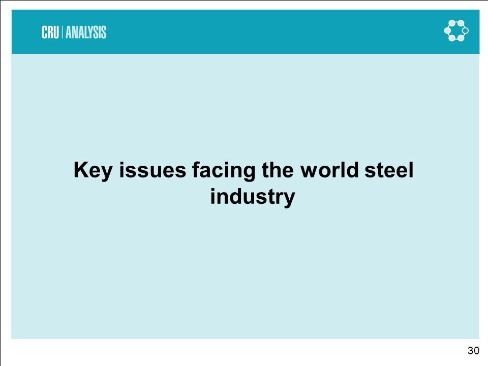 30 Key issues facing the world steel industry