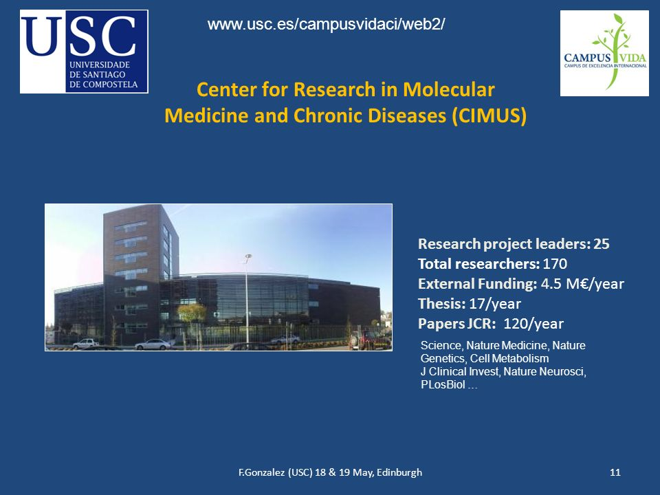 F.Gonzalez (USC) 18 & 19 May, Edinburgh11 Center for Research in Molecular Medicine and Chronic Diseases (CIMUS) Research project leaders: 25 Total re