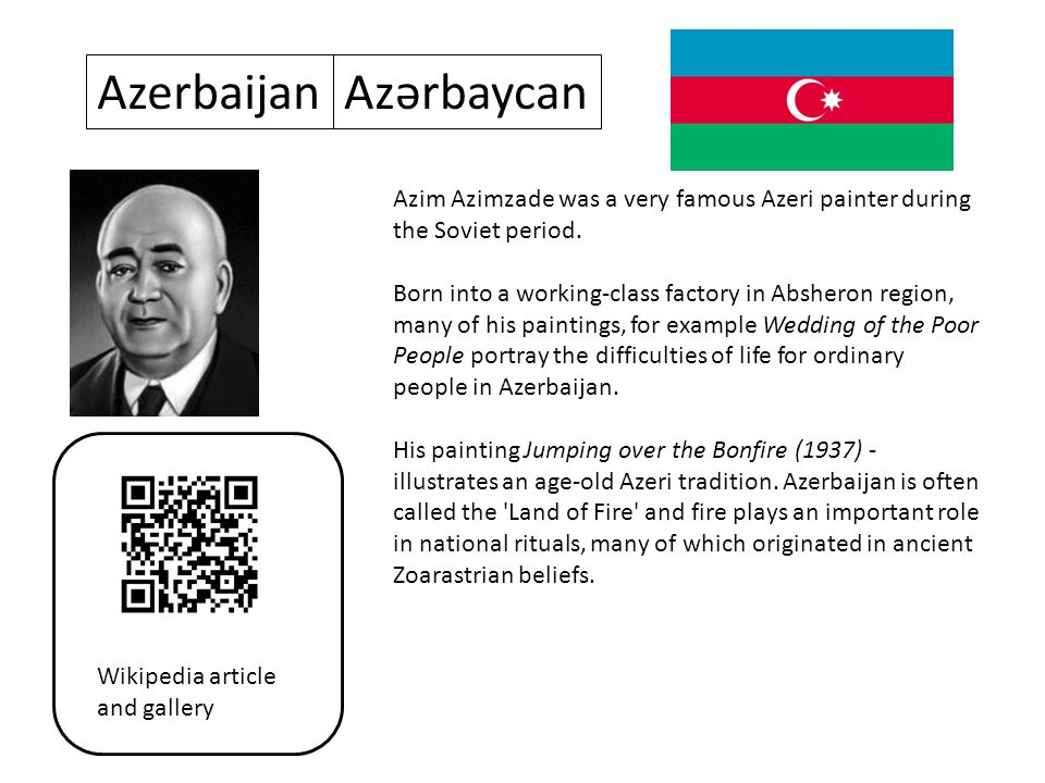 AzerbaijanAzərbaycan Azim Azimzade was a very famous Azeri painter during the Soviet period.