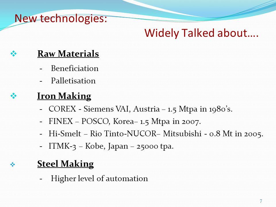 Raw Materials - Beneficiation - Palletisation Iron Making - COREX - Siemens VAI, Austria – 1.5 Mtpa in 1980s.