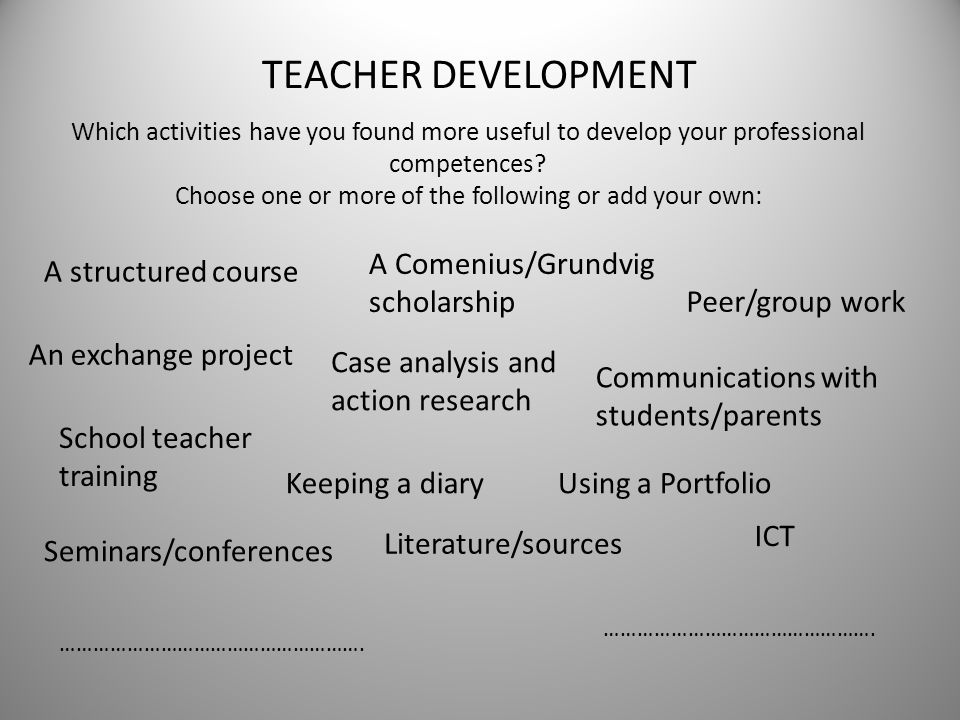 TEACHER DEVELOPMENT Which activities have you found more useful to develop your professional competences? Choose one or more of the following or add y