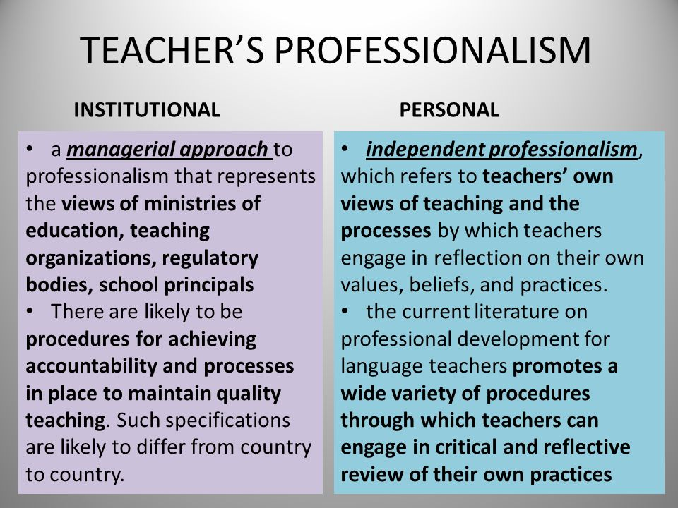 TEACHERS PROFESSIONALISM INSTITUTIONAL a managerial approach to professionalism that represents the views of ministries of education, teaching organiz