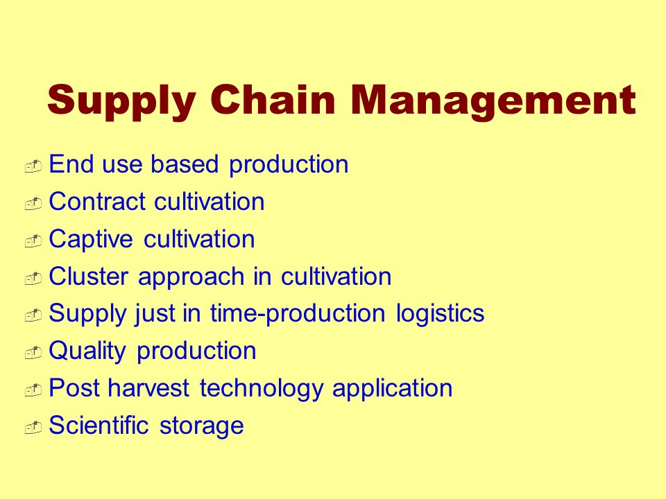 Supply Chain Management End use based production Contract cultivation Captive cultivation Cluster approach in cultivation Supply just in time-producti