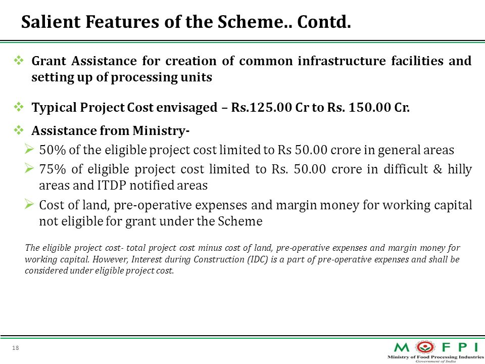18 Salient Features of the Scheme.. Contd. Grant Assistance for creation of common infrastructure facilities and setting up of processing units Typica