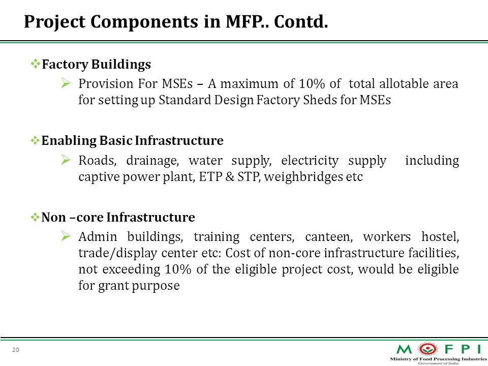 20 Project Components in MFP.. Contd. Factory Buildings Provision For MSEs – A maximum of 10% of total allotable area for setting up Standard Design F