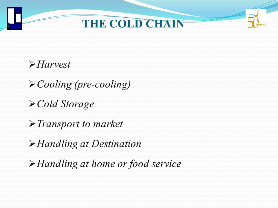 THE COLD CHAIN Harvest Cooling (pre-cooling) Cold Storage Transport to market Handling at Destination Handling at home or food service