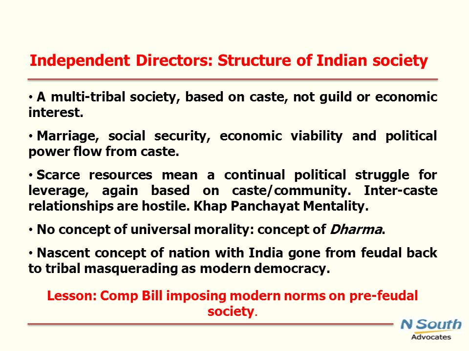 Independent Directors: Structure of Indian society A multi-tribal society, based on caste, not guild or economic interest.