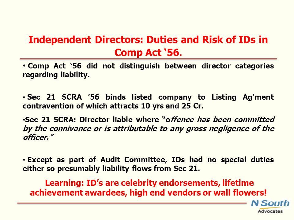 Independent Directors: Duties and Risk of IDs in Comp Act 56. Comp Act 56 did not distinguish between director categories regarding liability. Sec 21