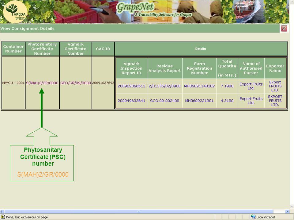 GrapeNet Phytosanitary Certificate (PSC) number S(MAH)2/GR/0000