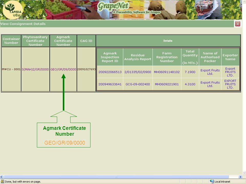 GrapeNet Agmark Certificate Number GEO/GR/09/0000