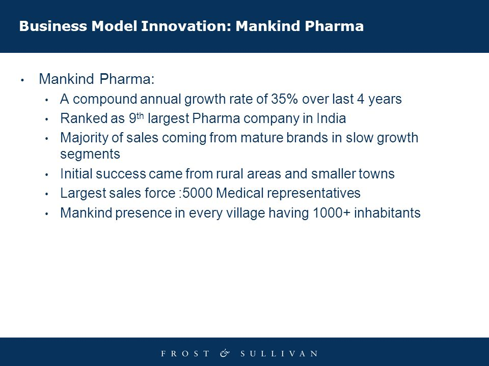 Business Model Innovation: Mankind Pharma Mankind Pharma: A compound annual growth rate of 35% over last 4 years Ranked as 9 th largest Pharma company