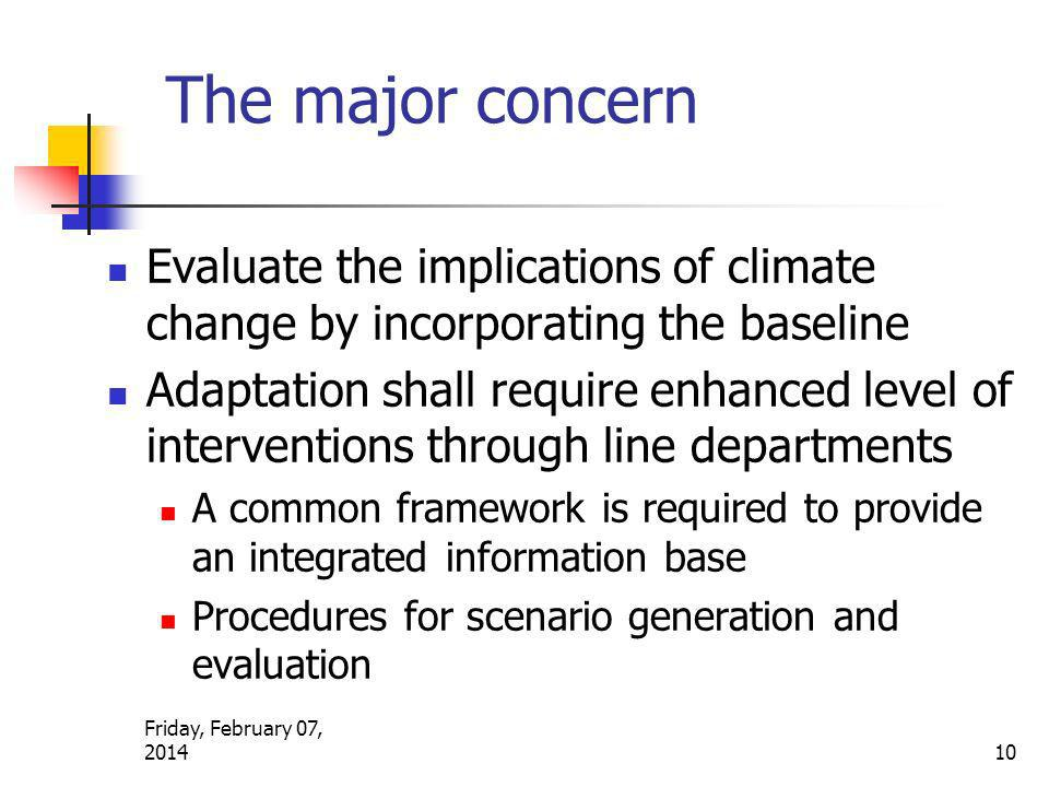 The major concern Evaluate the implications of climate change by incorporating the baseline Adaptation shall require enhanced level of interventions t