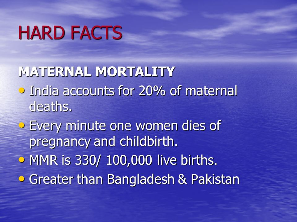 HARD FACTS MATERNAL MORTALITY India accounts for 20% of maternal deaths. India accounts for 20% of maternal deaths. Every minute one women dies of pre