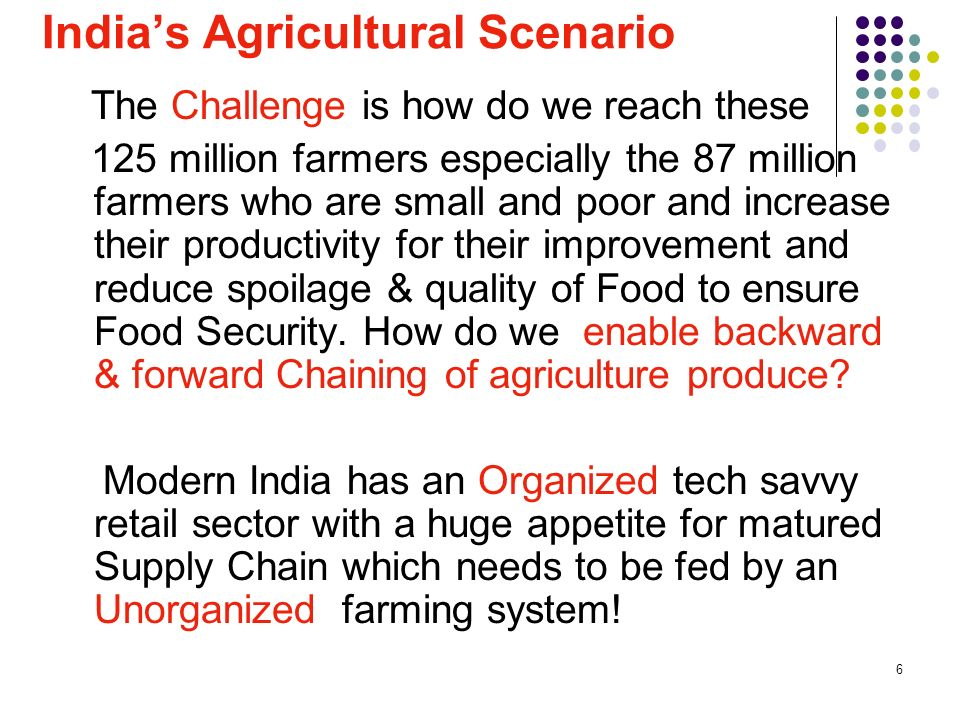 27 Agenda Indias Agricultural Scenario Linking Unorganized to Organized – Indian Success Case Story Issues in Replicating ANAND Success Case Story to Agriculture Storage & Transportation Technologies Indian Centric Challenges & Suggested Solution Models Track & Trace Technologies & GISPL Pilots Way Forward