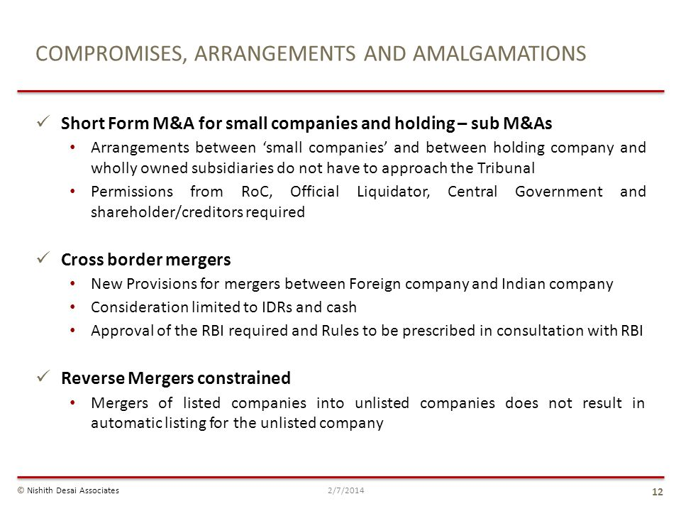 COMPROMISES, ARRANGEMENTS AND AMALGAMATIONS Short Form M&A for small companies and holding – sub M&As Arrangements between small companies and between