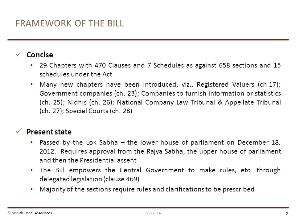 FRAMEWORK OF THE BILL Concise 29 Chapters with 470 Clauses and 7 Schedules as against 658 sections and 15 schedules under the Act Many new chapters ha