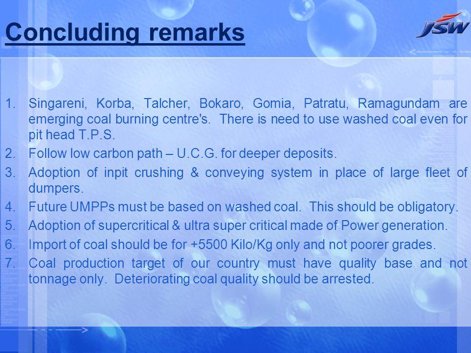 Concluding remarks 1.Singareni, Korba, Talcher, Bokaro, Gomia, Patratu, Ramagundam are emerging coal burning centre s.