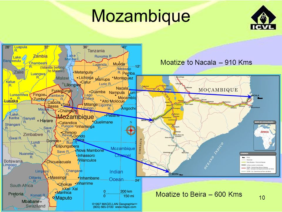 10 Mozambique Moatize to Beira – 600 Kms Moatize to Nacala – 910 Kms