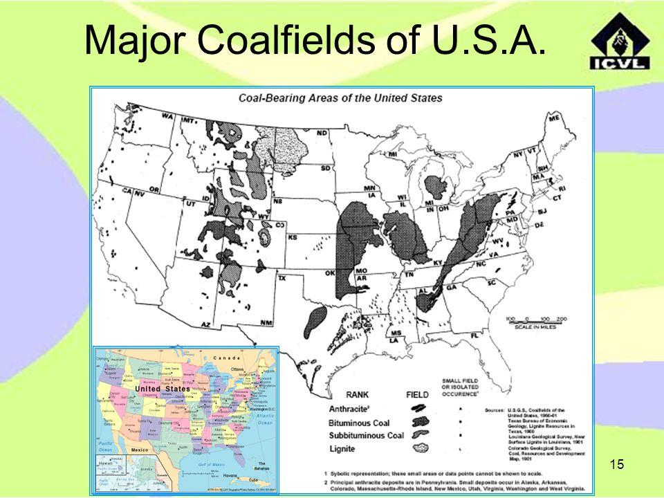 15 Major Coalfields of U.S.A.