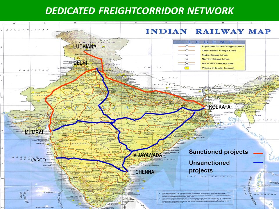 15 DEDICATED FREIGHTCORRIDOR NETWORK MUMBAI DELHI CHENNAI KOLKATA LUDHIANA VIJAYAWADA Sanctioned projects Unsanctioned projects VASCO