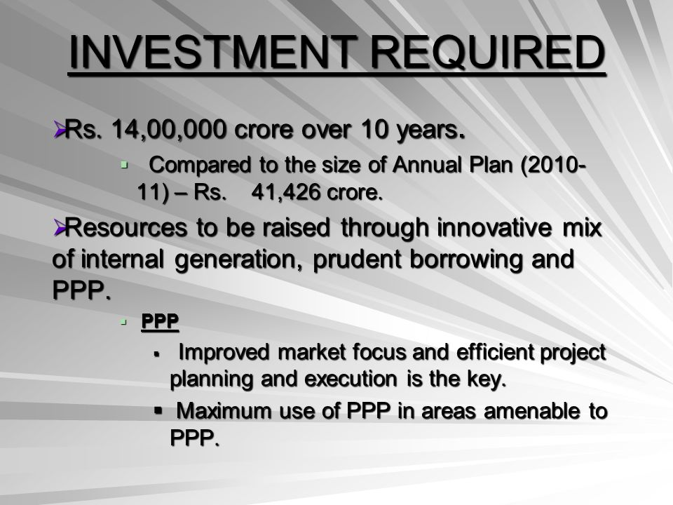 INVESTMENT REQUIRED Rs.14,00,000 crore over 10 years.