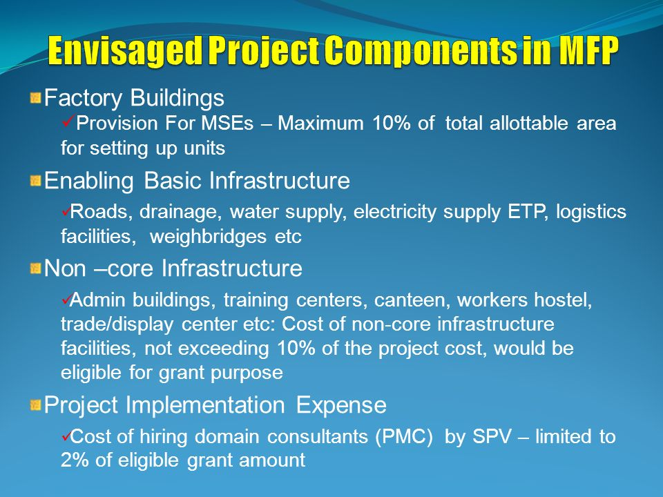 Factory Buildings Provision For MSEs – Maximum 10% of total allottable area for setting up units Enabling Basic Infrastructure Roads, drainage, water