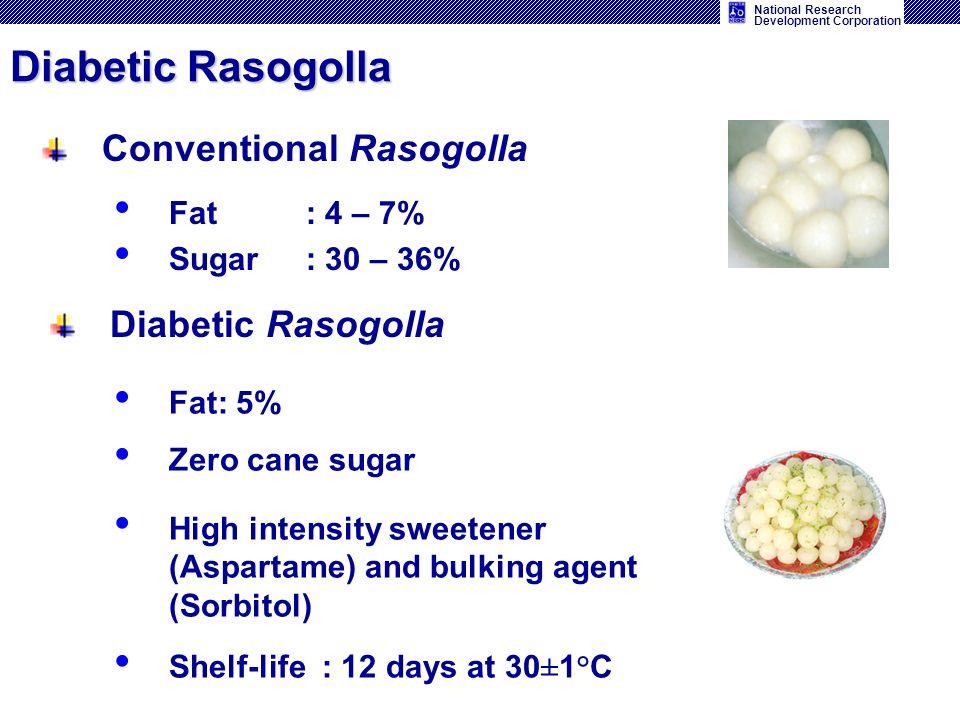 National Research Development Corporation Conventional Rasogolla Fat: 5% Zero cane sugar High intensity sweetener (Aspartame) and bulking agent (Sorbitol) Shelf-life : 12 days at 30±1°C Diabetic Rasogolla Fat : 4 – 7% Sugar: 30 – 36%