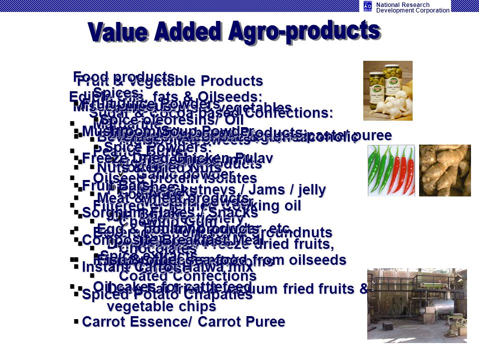 National Research Development Corporation Fruit & Vegetable Products canned fruits & vegetables canned fruits & vegetables Canned fruit juices / pulps
