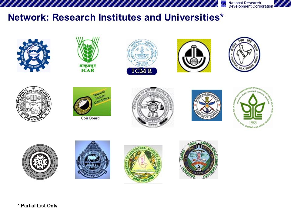 National Research Development Corporation Network: Research Institutes and Universities* * Partial List Only
