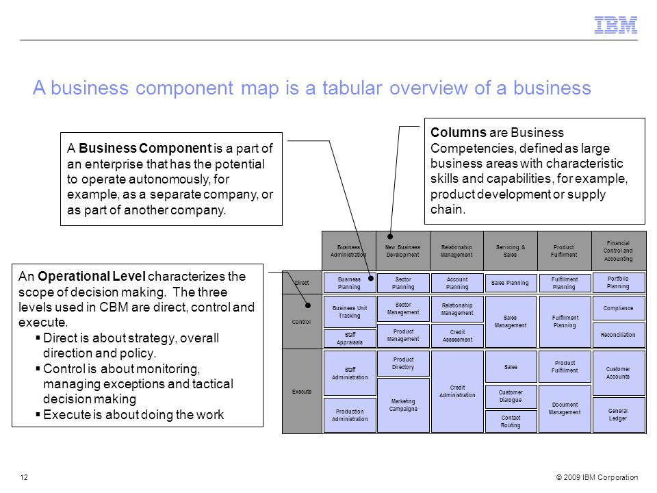 © 2009 IBM Corporation12 A business component map is a tabular overview of a business Control Execute Direct Business Planning Business Unit Tracking