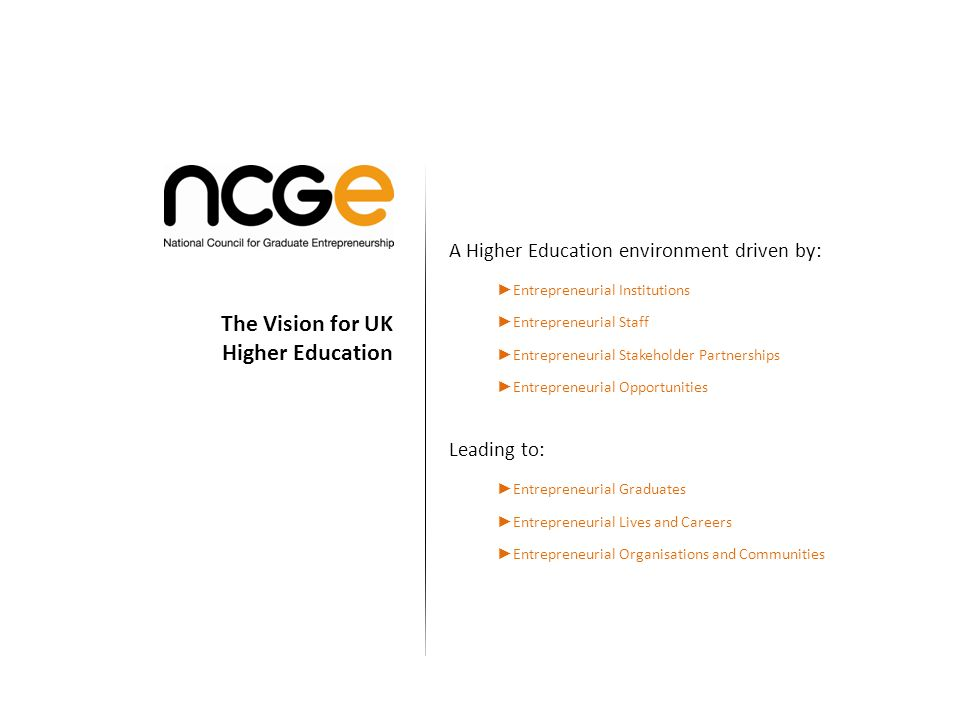 A Higher Education environment driven by: Entrepreneurial Institutions Entrepreneurial Staff Entrepreneurial Stakeholder Partnerships Entrepreneurial