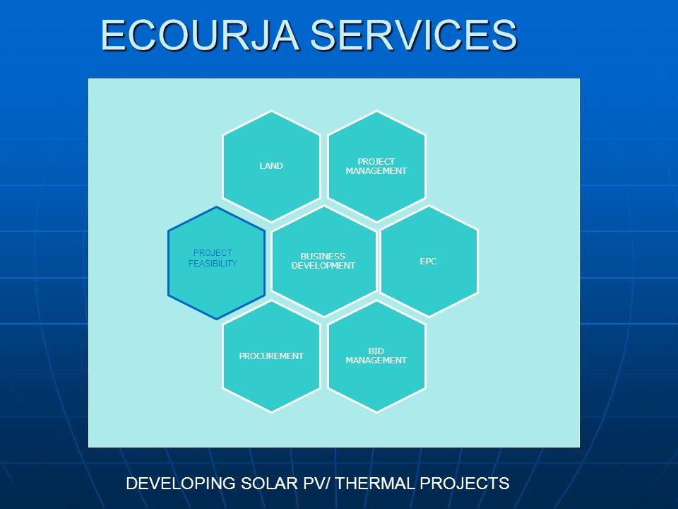 ECOURJA SERVICES PROJECT MANAGEMENT LAND BUSINESS DEVELOPMENT EPC BID MANAGEMENT PROCUREMENT PROJECT FEASIBILITY DEVELOPING SOLAR PV/ THERMAL PROJECTS