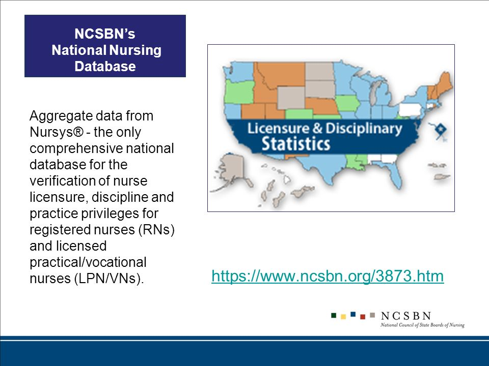 NCSBNs National Nursing Database Aggregate data from Nursys® - the only comprehensive national database for the verification of nurse licensure, disci